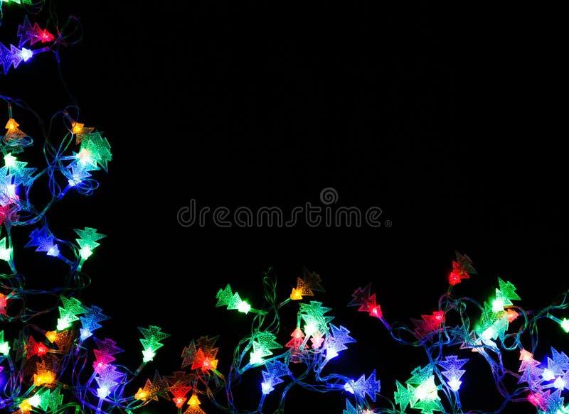 Download Christmas Lights Border On Black Background Stock Image