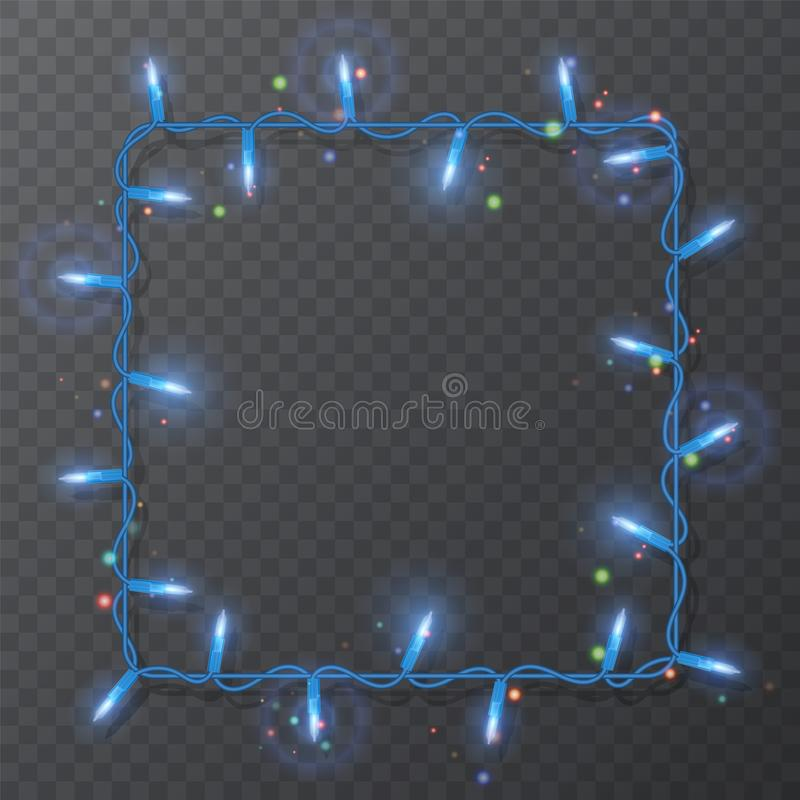 Christmas lights border, light string frame, square frame isolated on dark background with copy space. Glowing Blue lights for. Christmas lights border, square royalty free illustration