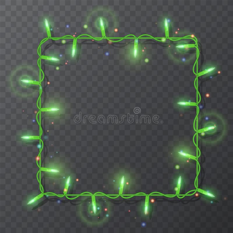 Christmas lights border, light string frame, square frame isolated on dark background with copy space. Glowing Green lights for. Xmas Holiday greeting card royalty free illustration