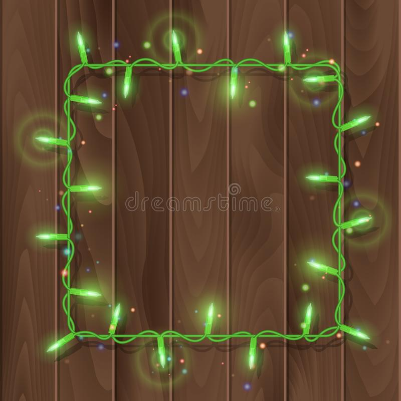 Christmas lights border, light string frame, square frame isolated on dark background with copy space. Glowing Green lights for. Xmas Holiday greeting card vector illustration