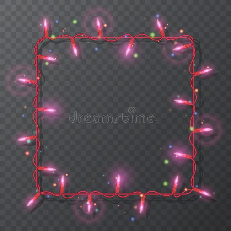 Christmas lights border, light string frame, square frame isolated on dark background with copy space. Glowing red lights for Xmas. Holiday greeting card design stock illustration