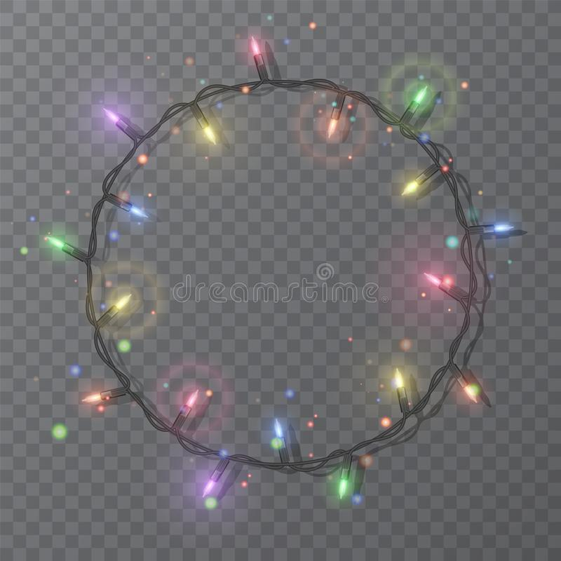 Christmas lights border vector, light string frame isolated on dark background with copy space. Glowing colorful lights for Xmas. Holiday greeting card design vector illustration
