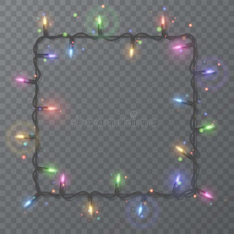 Christmas lights border vector, light string frame isolated on dark background with copy space. Glowing colorful lights for Xmas. Holiday greeting card design royalty free illustration