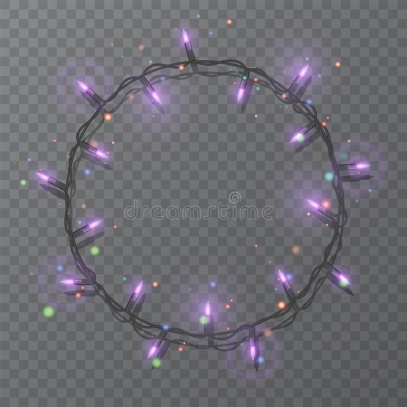 Christmas lights border vector, light string frame isolated on dark background with copy space. Glowing Purple lights for Xmas. Holiday greeting card design stock illustration