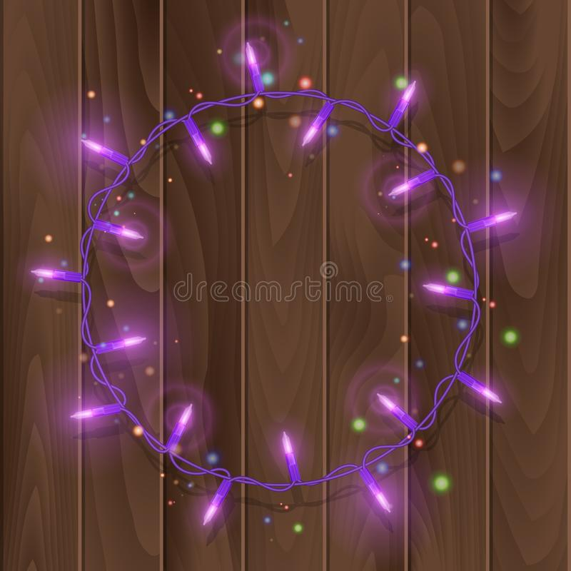 Christmas lights border vector, light string frame isolated on dark background with copy space. Glowing Purple lights for Xmas. Holiday greeting card design royalty free illustration