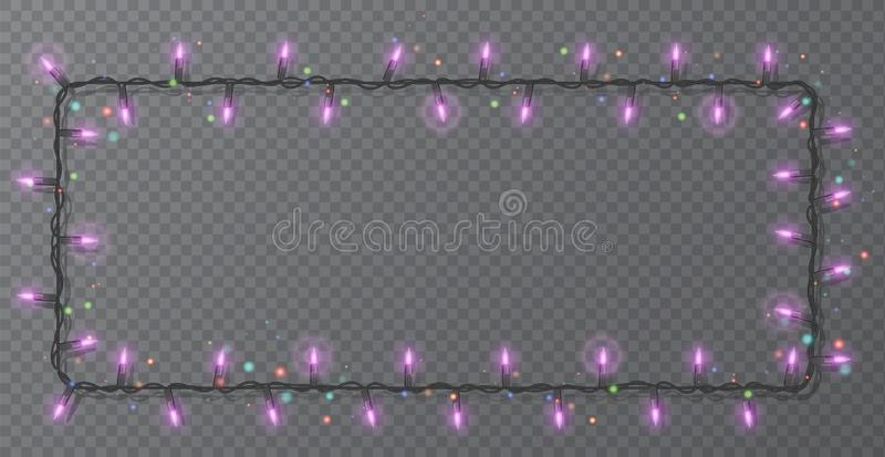 Christmas lights border vector, light string frame isolated on dark background with copy space. Glowing Purple lights for Xmas. Holiday greeting card design vector illustration