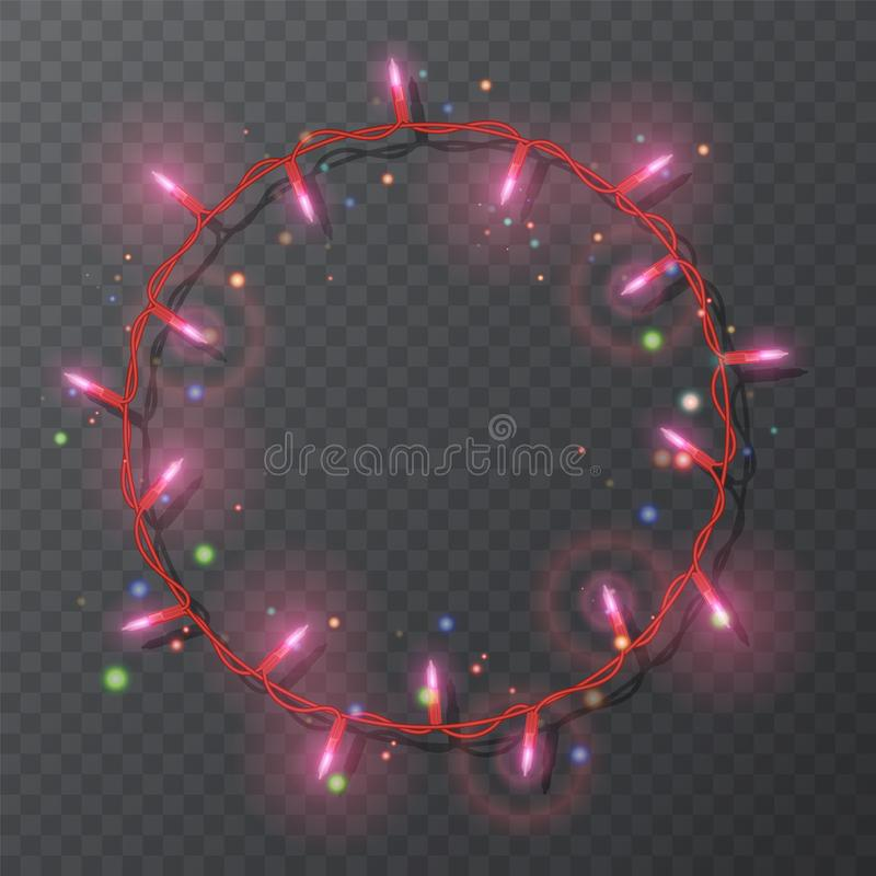 Christmas lights border vector, light string frame isolated on dark background with copy space. Glowing Red lights for Xmas. Holiday greeting card design vector illustration