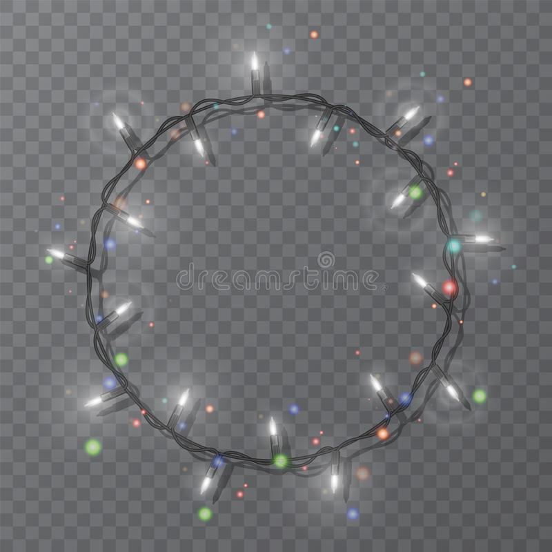 Christmas lights border vector, light string frame isolated on dark background with copy space. Glowing White lights for Xmas. Holiday greeting card design vector illustration