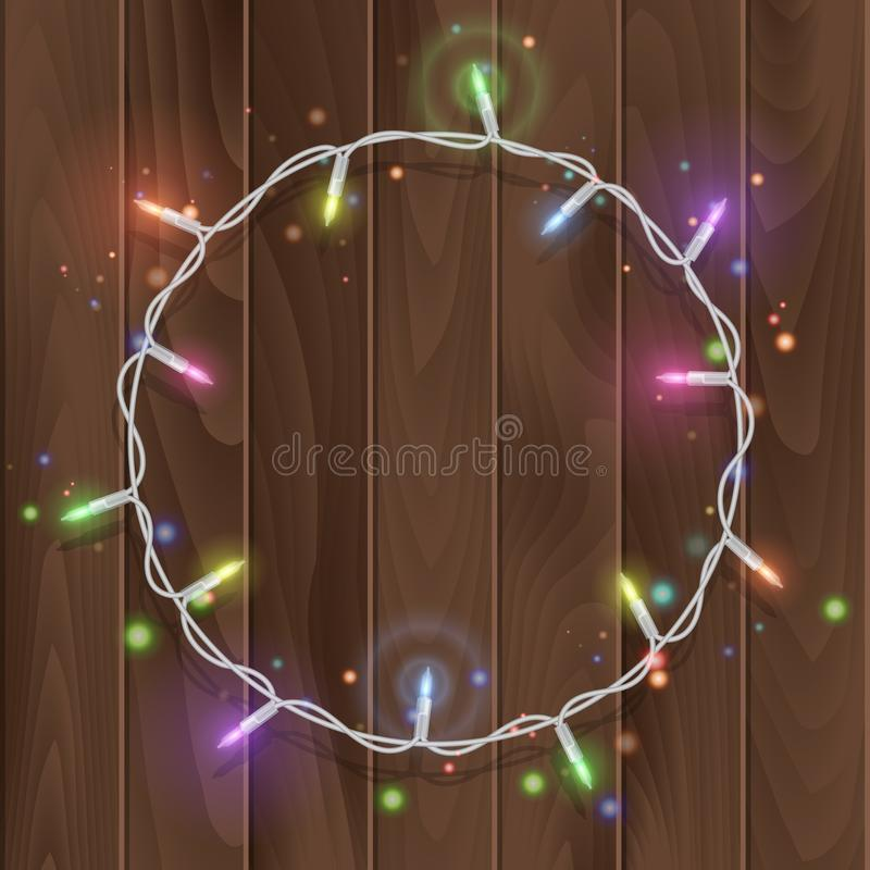 Christmas lights border vector, light string frame isolated on dark background with copy space. Glowing White lights for Xmas. Holiday greeting card design stock illustration