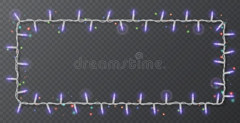 Christmas lights border vector, light string frame isolated on dark background with copy space. Glowing White lights for Xmas. Holiday greeting card design royalty free illustration
