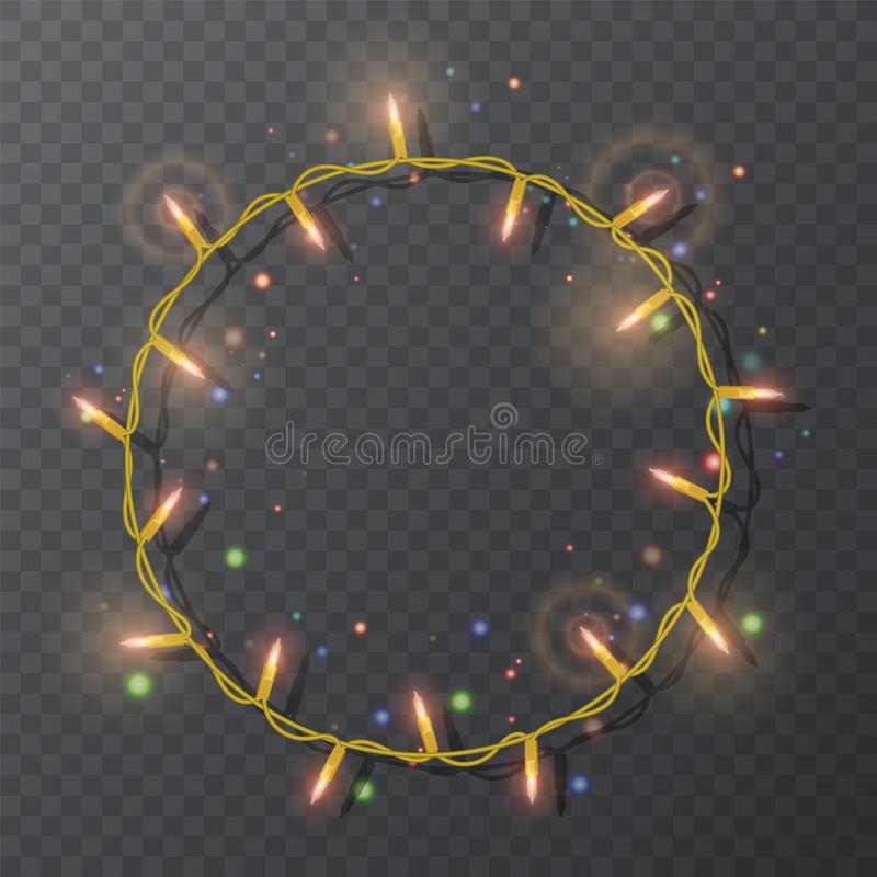 Christmas lights border vector, light string frame isolated on dark background with copy space. Glowing yellow lights for Xmas. Holiday greeting card design vector illustration