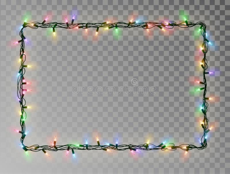 Christmas lights border vector, light string frame isolated on dark background with copy space. Tran. Sparent decorative garland. Xmas light border effect royalty free illustration