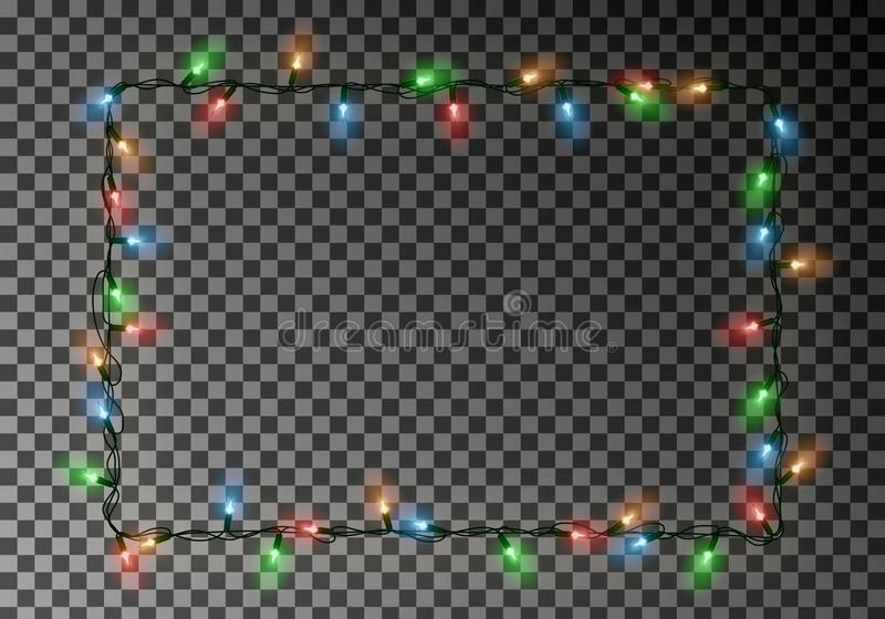 Christmas lights border vector, light string frame isolated on dark background with copy space. Tran. Sparent decorative garland. Xmas light border effect stock illustration