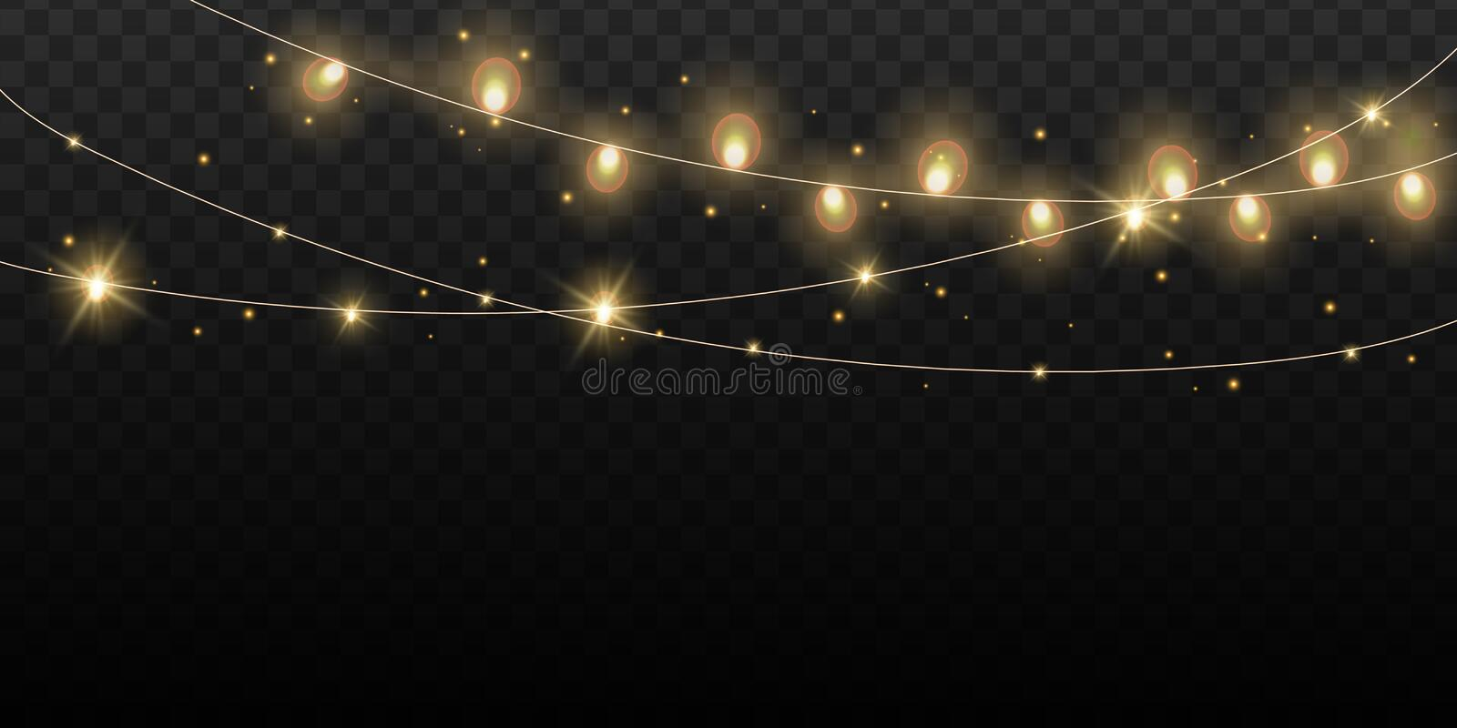 Christmas lights bulbs isolated. Glowing golden Christmas Party hanging lamp garlands string for Xmas Holiday cards stock illustration