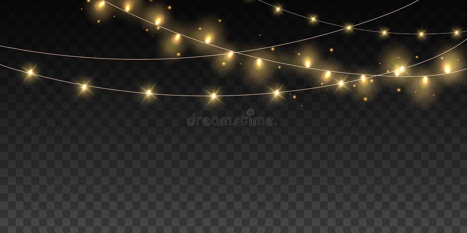 Christmas lights bulbs isolated. Glowing golden Christmas Party hanging lamp garlands string for Xmas Holiday cards royalty free illustration