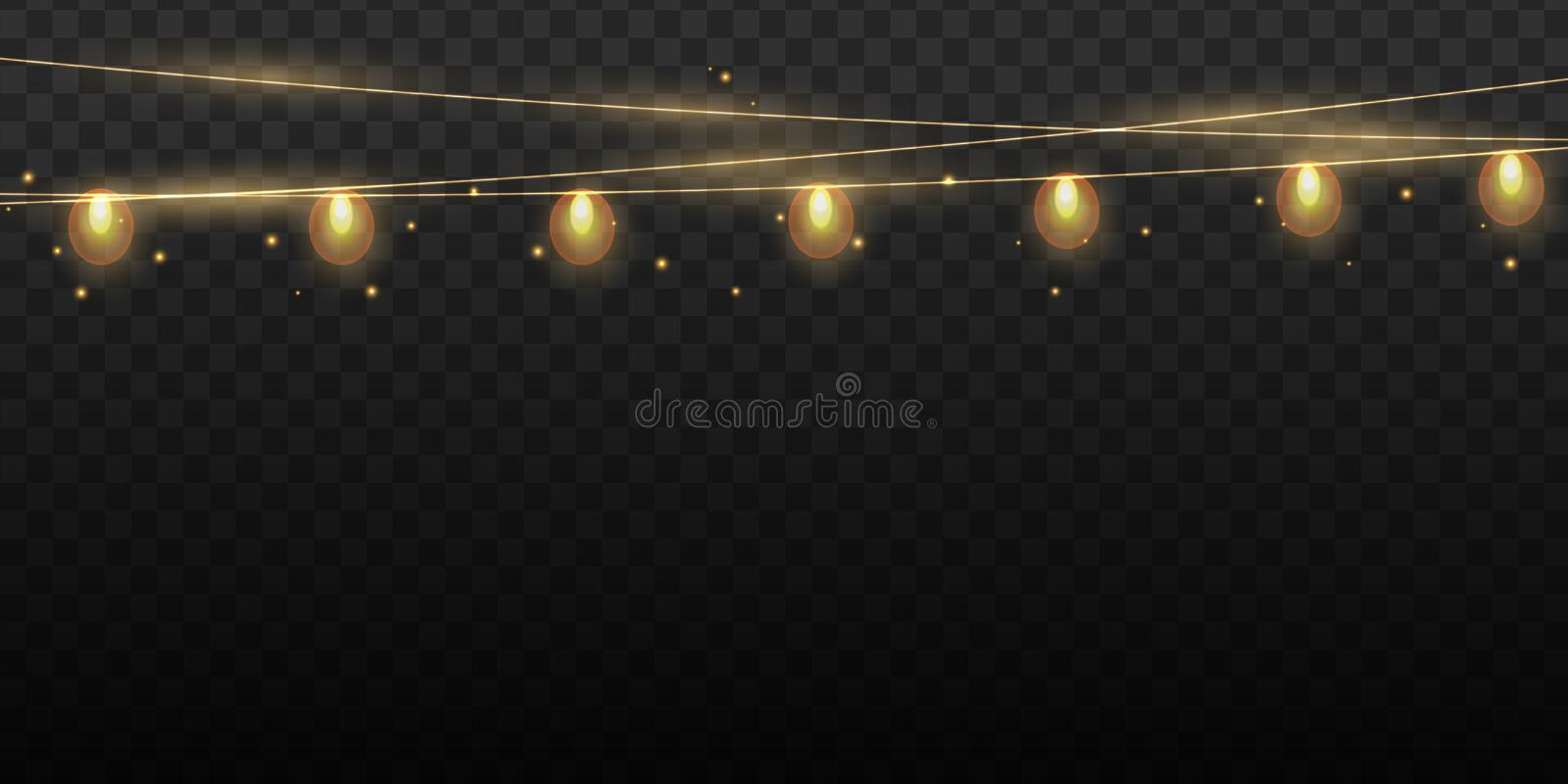 Christmas lights bulbs isolated. Glowing golden Christmas Party hanging lamp garlands string for Xmas Holiday cards vector illustration