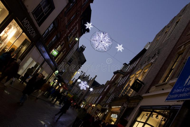 Christmas lights in Cambridge UK. Christmas lights on the streets in Cambridge, UK stock photos