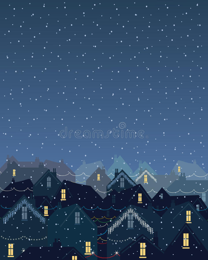 Christmas lights in the city stock illustration