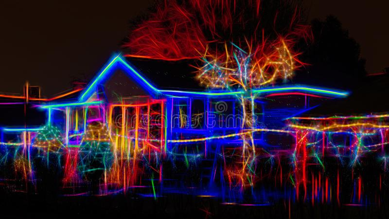 Christmas lights decorating a house, Toronto, Canada royalty free stock image