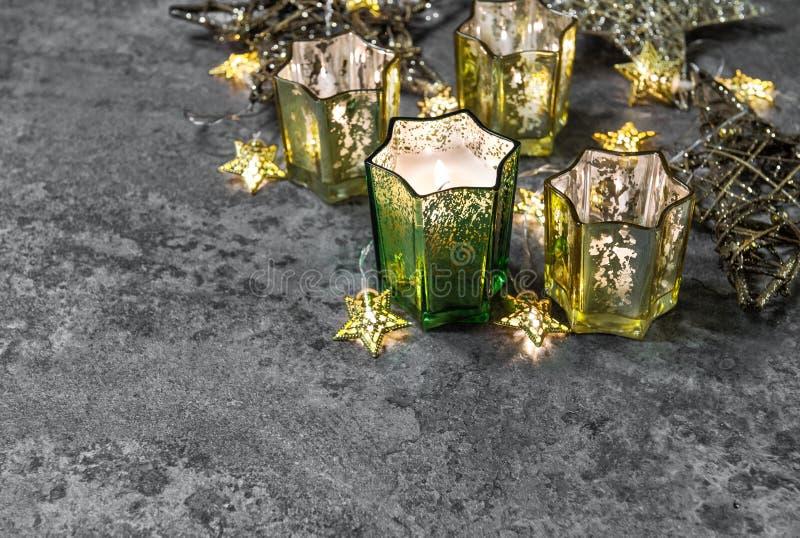 Christmas lights decoration Candles shiny stars stock image
