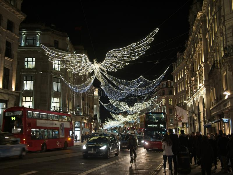 Christmas lights and decoration on Regent street in London, England royalty free stock images