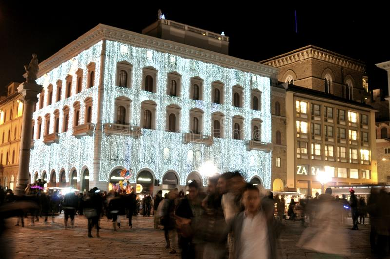 Christmas lights in Florence city center, Italy stock photography
