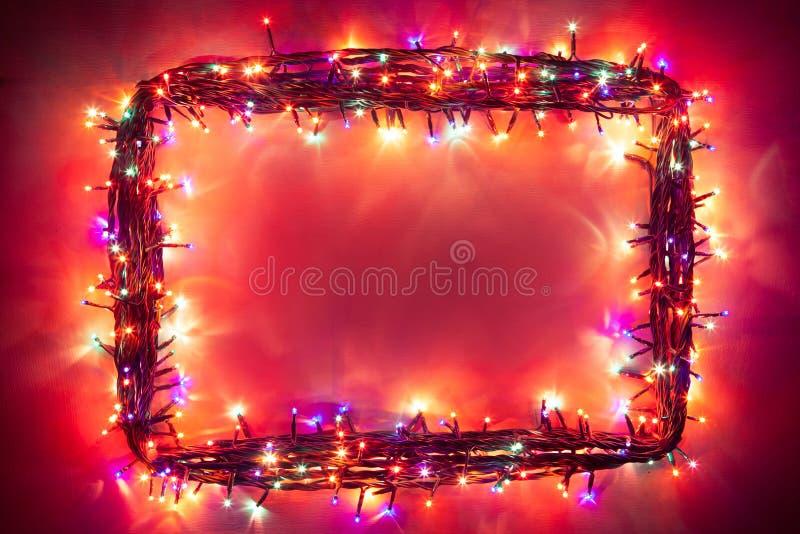 Christmas lights frame royalty free stock photo