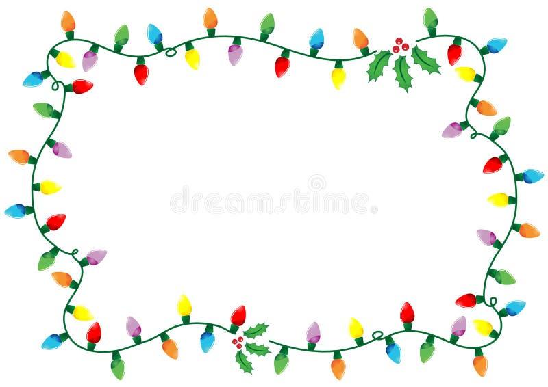 Christmas lights frame stock illustration