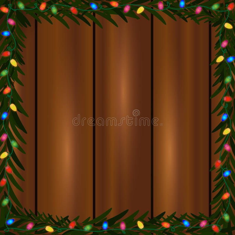 Christmas lights frame. Square frame made of colorful Christmas lights and fir branch on a wooden background royalty free illustration