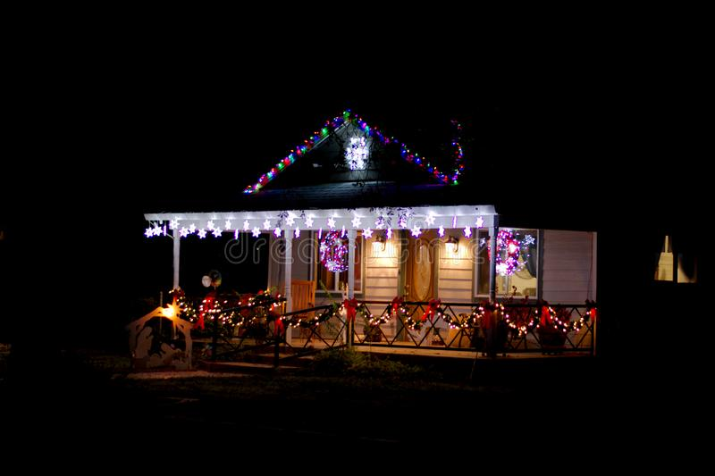 Christmas lights on front of house royalty free stock photos