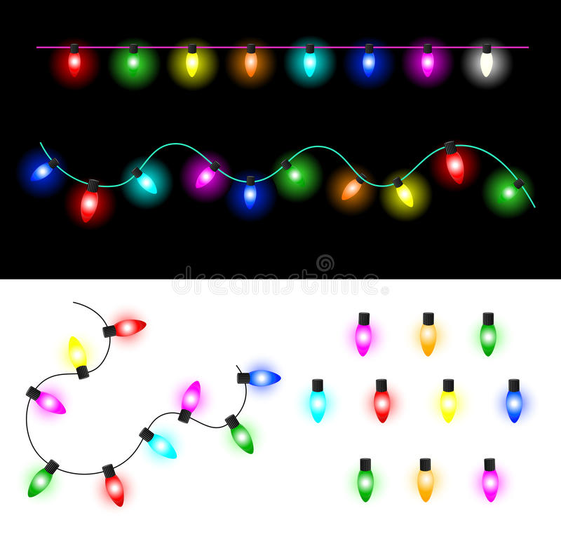 Christmas lights. Garland of colorful glowing Christmas lights. Set of light bulbs stock illustration