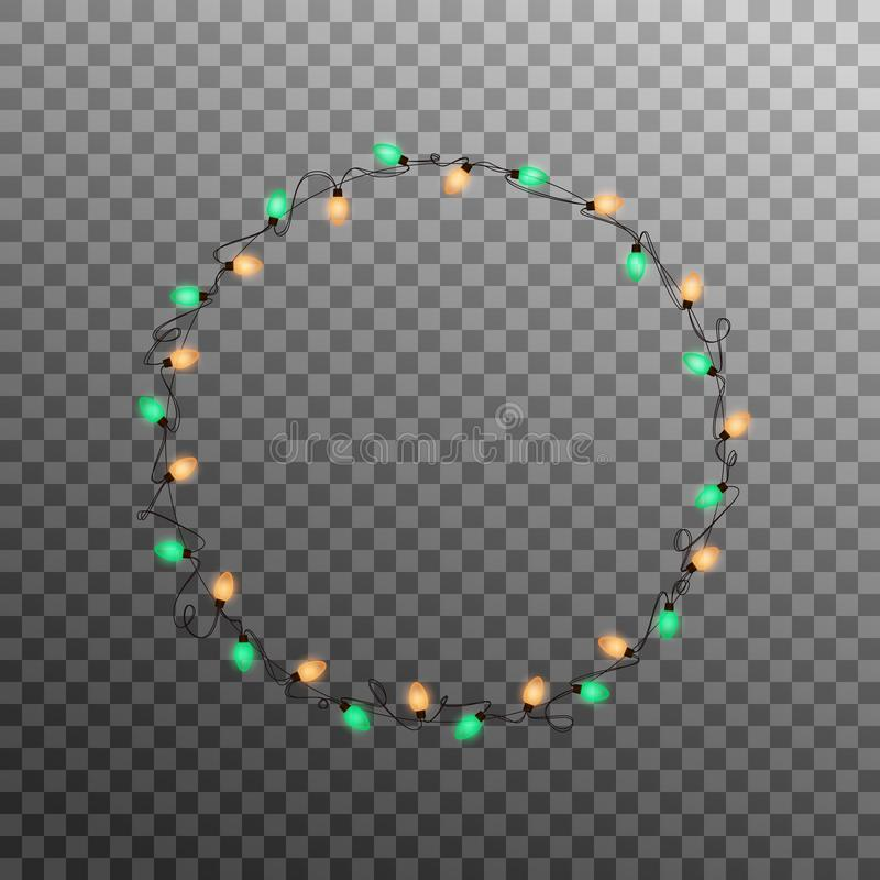 Christmas lights garland. Realistic multicolored string lights for New Year and Xmas season. Glowing isolated shiny stock illustration