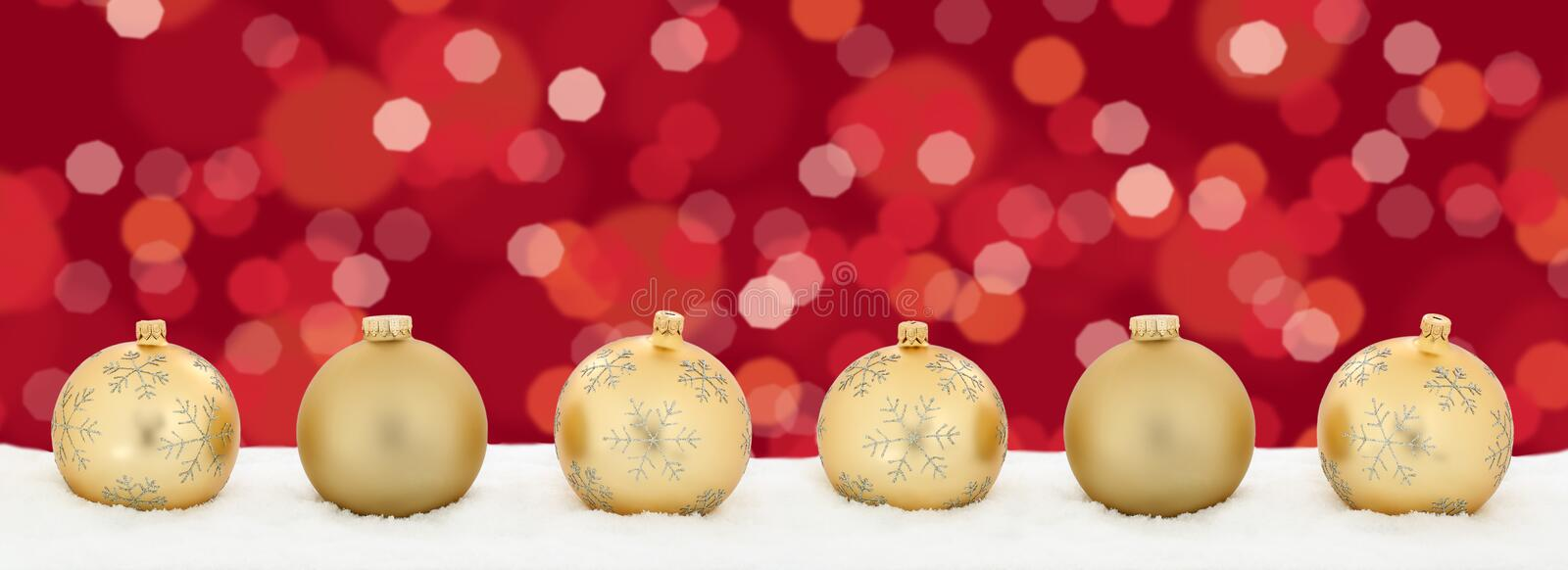 Christmas lights golden balls banner decoration background copys royalty free stock photos