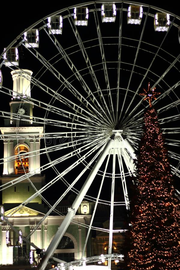 Free Christmas Lights In The Old Square Stock Photography - 135610812