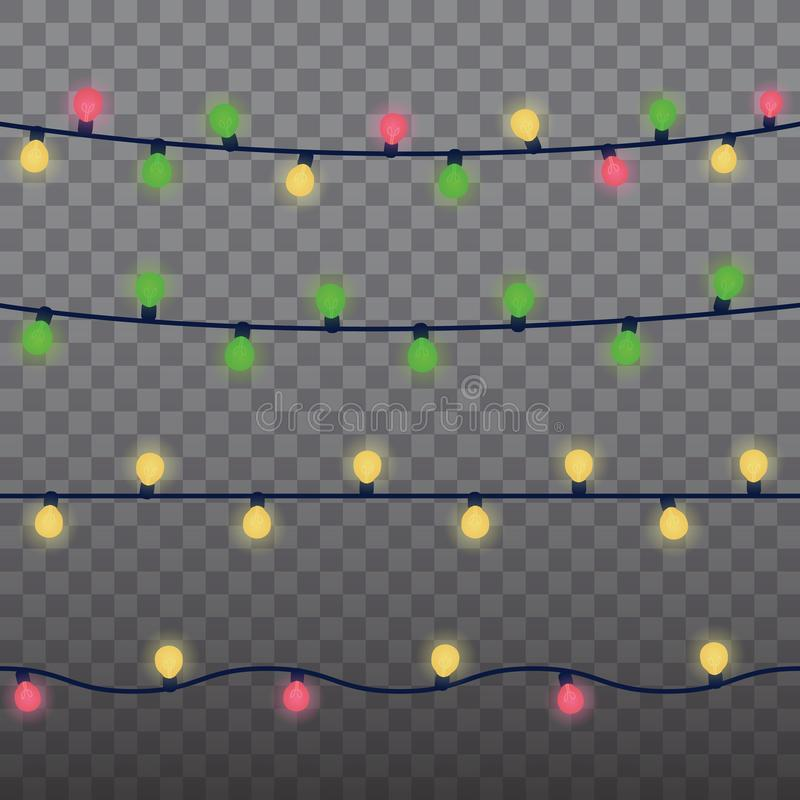 Christmas lights isolated design elements. Glowing lights for Xmas Holiday greeting card design. Garlands Christmas royalty free illustration