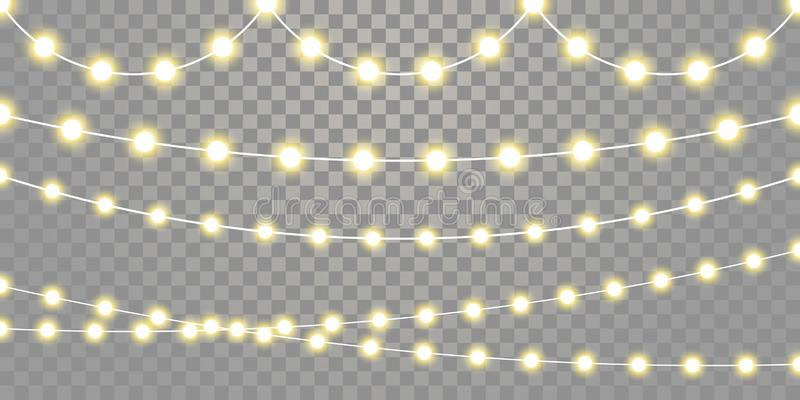 Christmas lights isolated garland lamp strings on transparent background. Christmas lights isolated garland lamps strings set on transparent background royalty free illustration