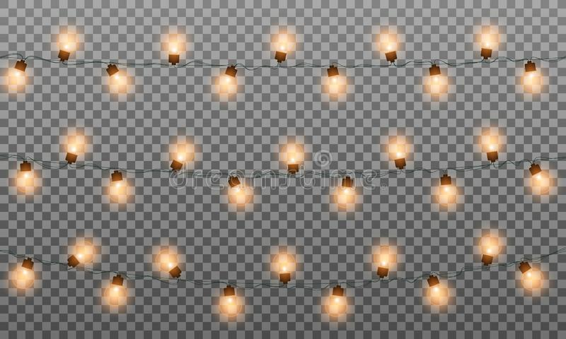 Christmas lights isolated garlands. Realistic string lights garland for New Year and Xmas. Isolated yellow lights vector vector illustration