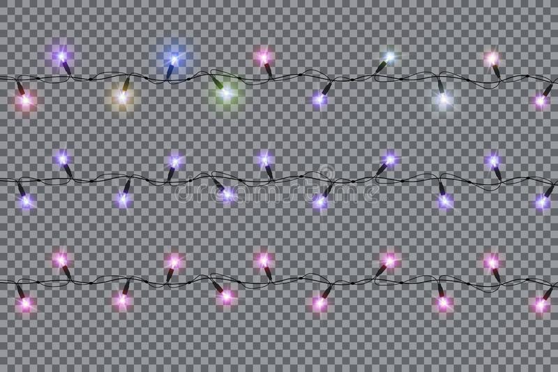 Christmas lights isolated realistic design elements. Glowing lights for Xmas Holiday cards, banners, posters, web design. Garlands decorations. Led neon lamp vector illustration