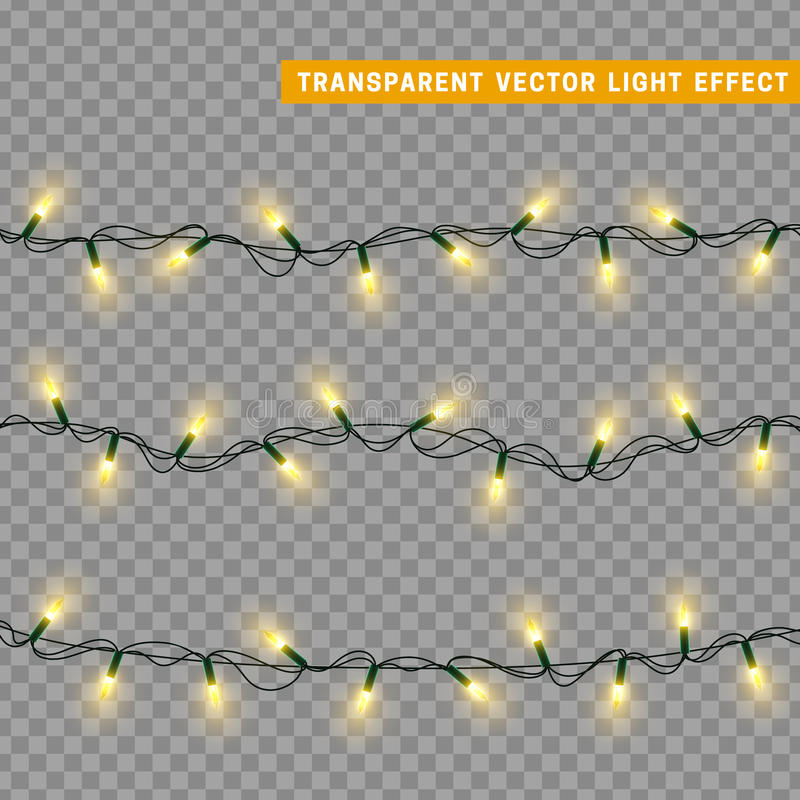 Christmas lights isolated realistic design elements. stock illustration