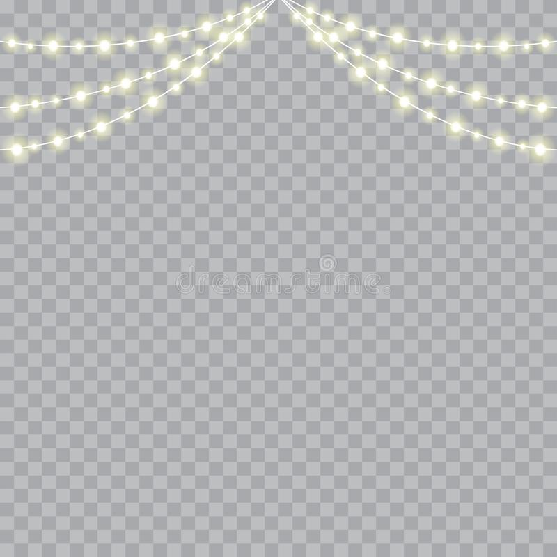 Christmas lights isolated realistic design elements. Vector.  royalty free illustration