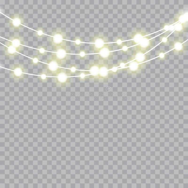 Christmas lights isolated realistic design elements. Vector.  stock illustration
