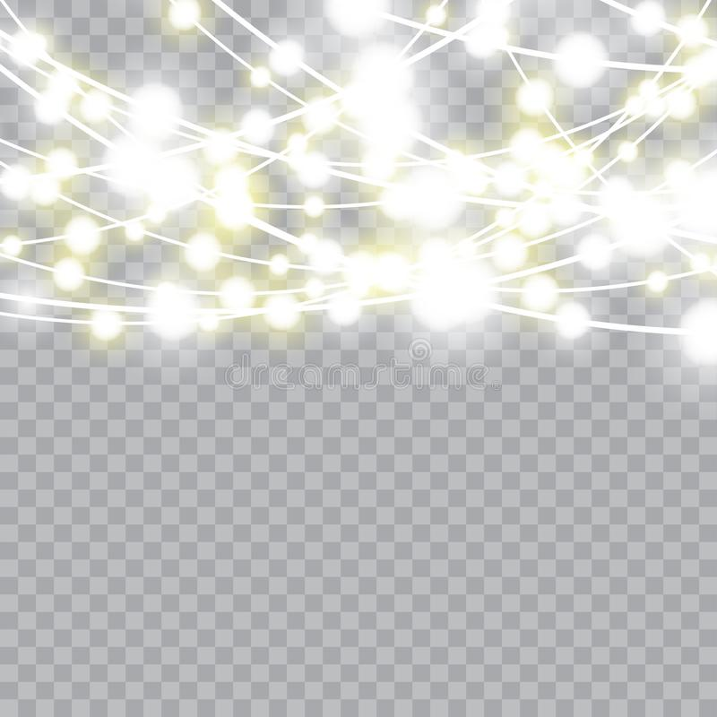 Christmas lights isolated realistic design elements. Vector.  vector illustration