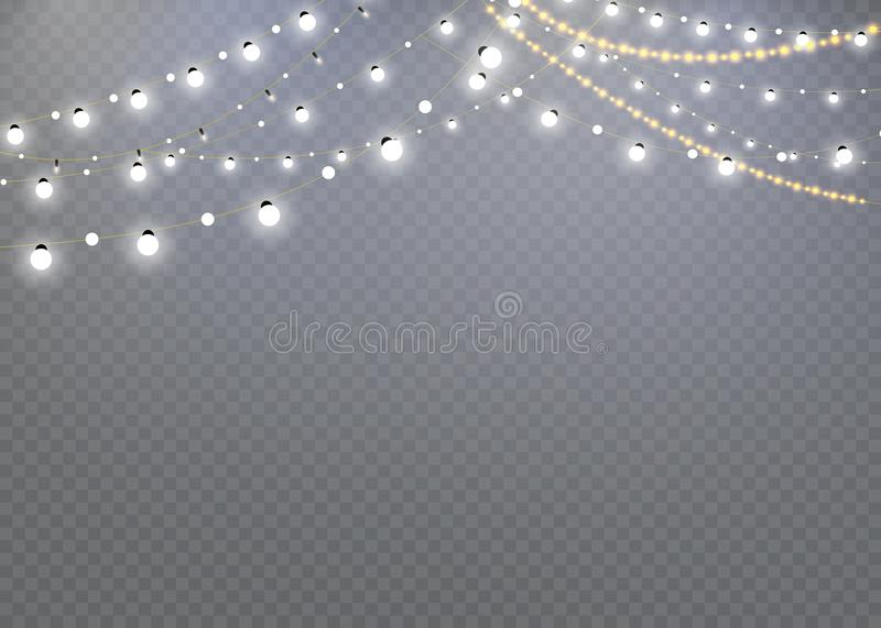 Christmas lights isolated on a transparent background. Christmas glowing garland.decoration for the new year and Christmas.light e. Ffect vector illustration