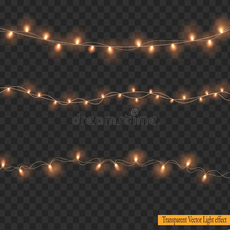 Christmas lights isolated on Transparent Background. royalty free illustration