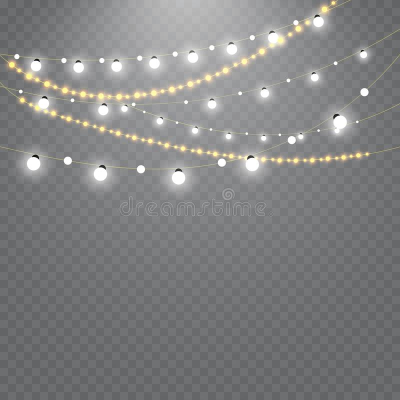 Christmas lights isolated on transparent background. Set of golden xmas glowing garland. Vector illustration. Christmas lights isolated on transparent background stock illustration