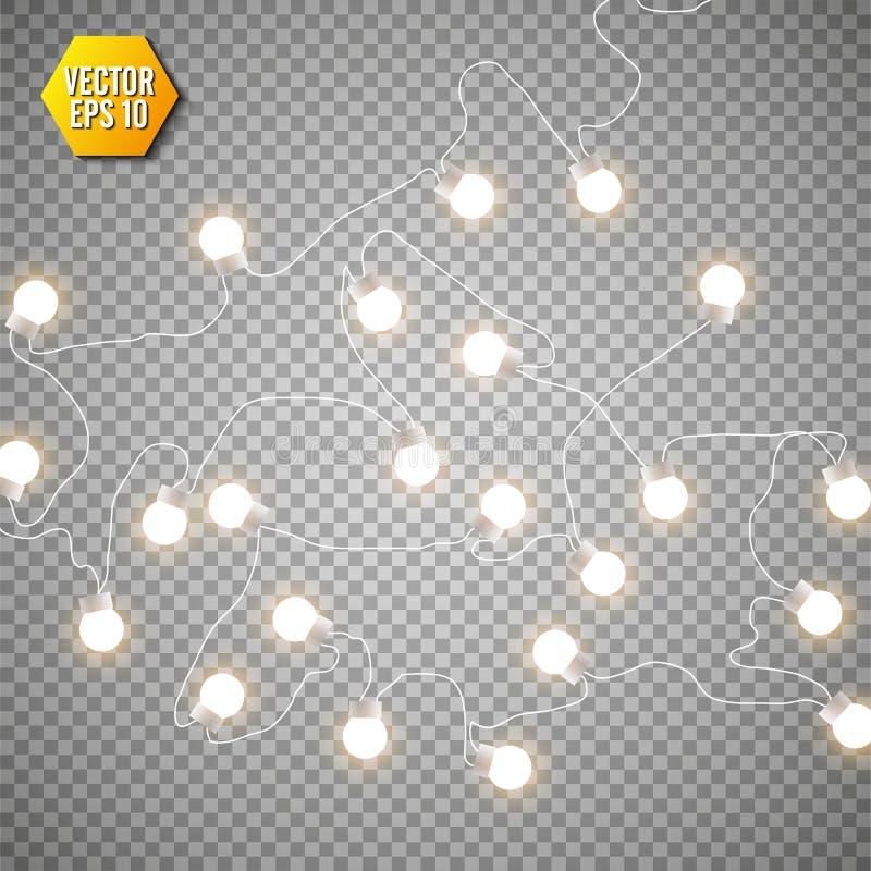 Christmas lights isolated on transparent background. Set of xmas glowing garland. Vector illustration.  stock illustration