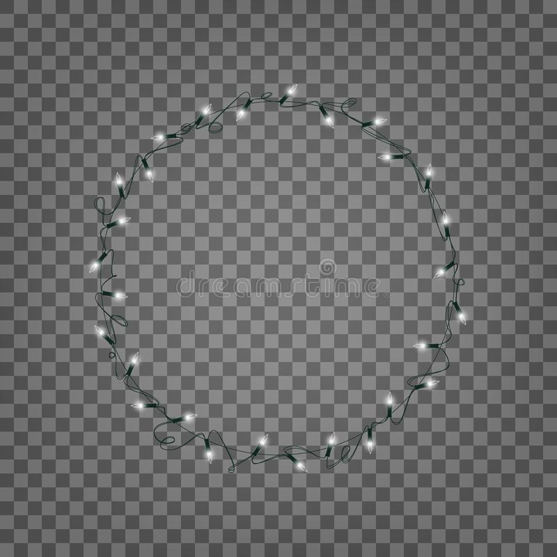 Christmas lights. Isolated wreath of realistic string lights garland royalty free illustration