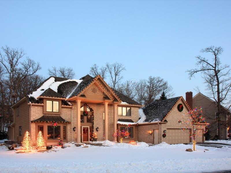 Christmas lights in Minnesota stock photo