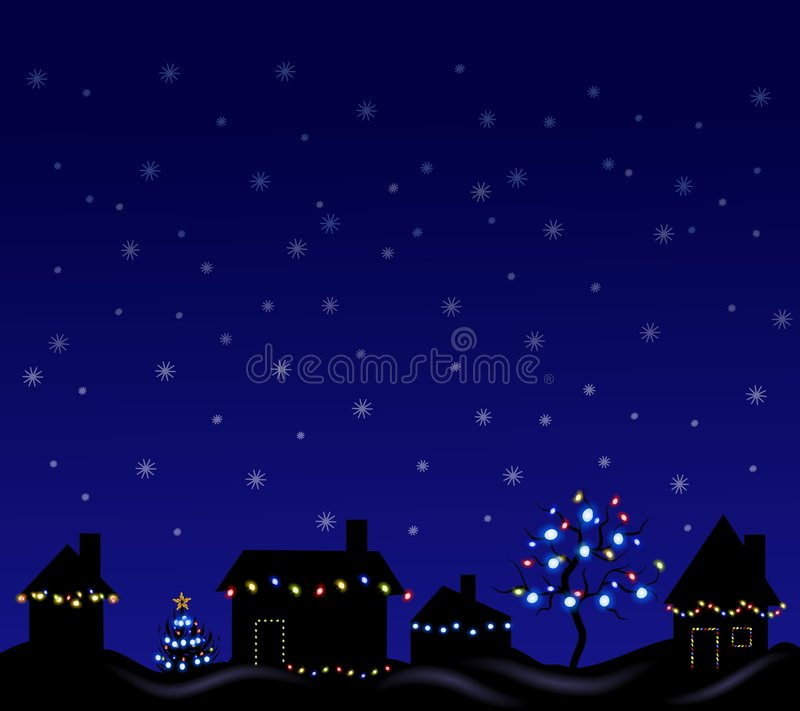Christmas Lights at Night. A clip art illustration of a night setting with row of houses and trees decorated with Christmas lights stock illustration