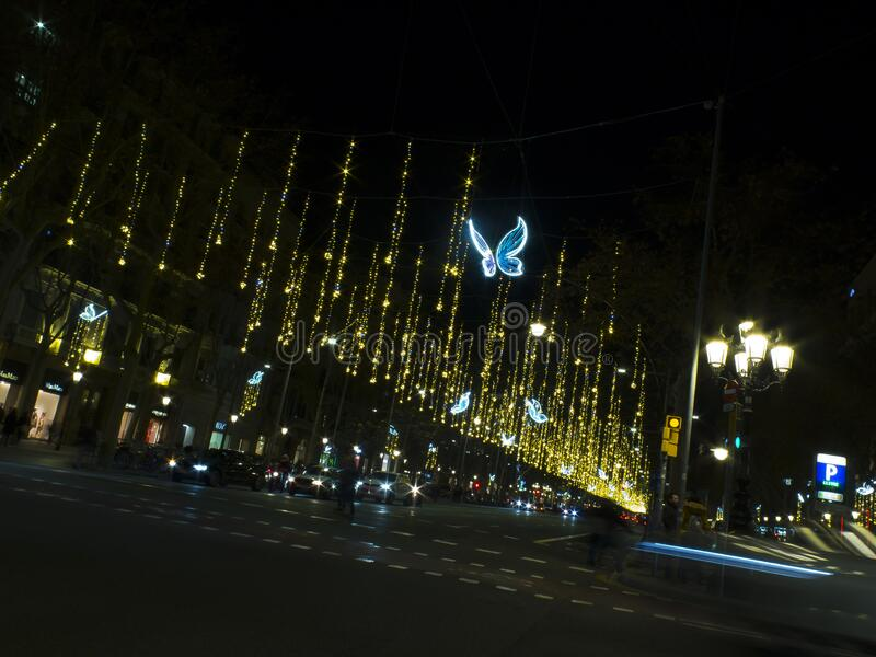 Christmas lights at night royalty free stock photos